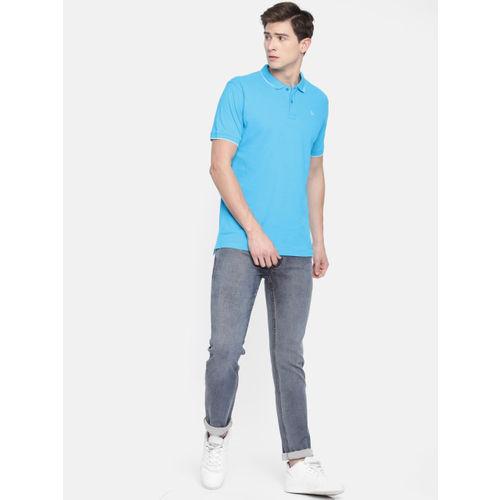 Parx Men Blue Solid Polo Collar T-shirt
