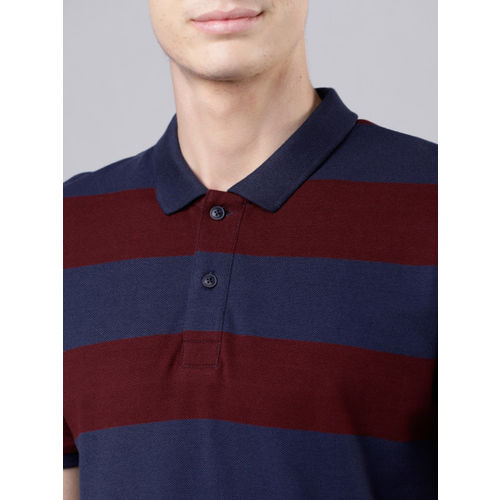 HIGHLANDER Men Maroon Striped Polo Collar T-shirt