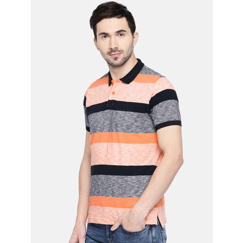 Parx Men Orange & Black Striped Polo Collar T-shirt