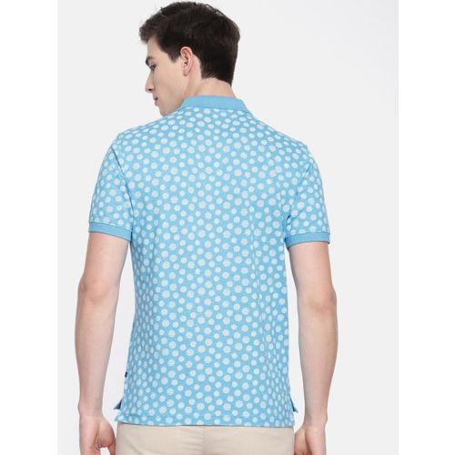 Parx Men Blue & White Printed Polo Collar T-shirt