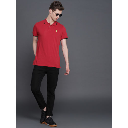WROGN Men Red Solid Slim Fit Polo Collar T-shirt