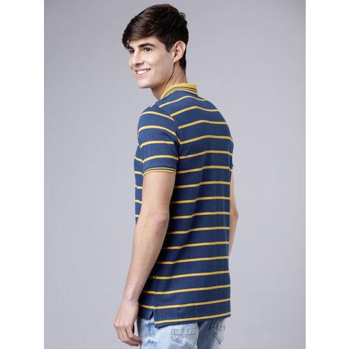 HIGHLANDER Men Blue & Yellow Striped Polo Collar T-shirt