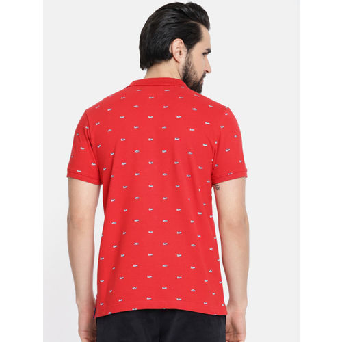 Pepe Jeans Men Red & Navy Blue Printed Polo T-shirt