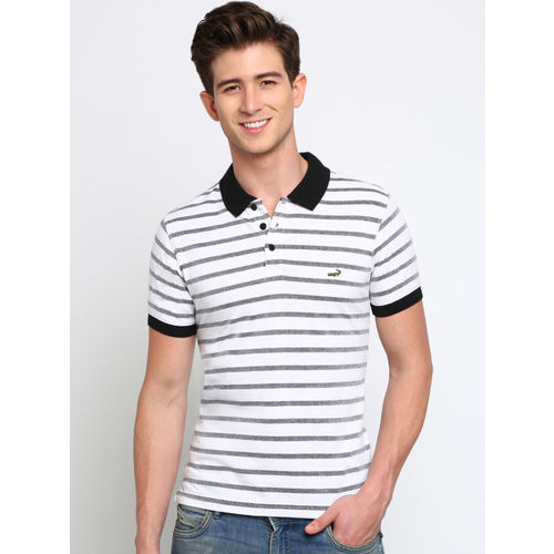 Crocodile Men Black & White Striped Polo Collar T-shirt