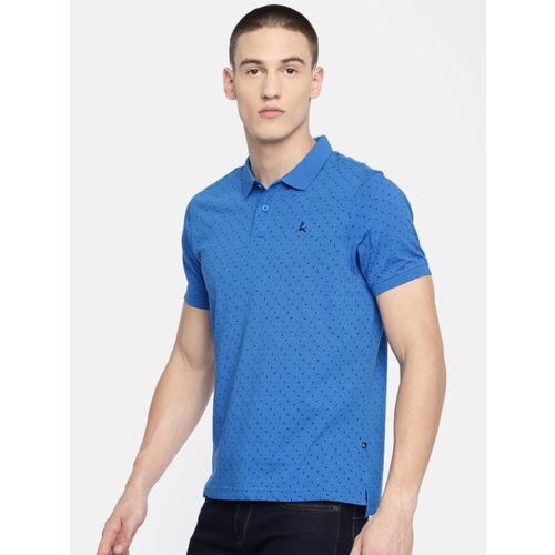Parx Men Blue & Black Printed Polo Collar T-shirt