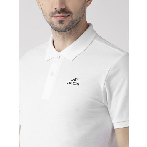 Alcis Men White Solid Polo Collar T-shirt