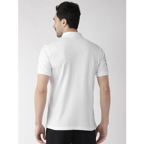 Alcis Men White Solid Polo Collar T-shirt