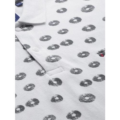 Louis Philippe Sport Men White Printed Polo Collar T-shirt