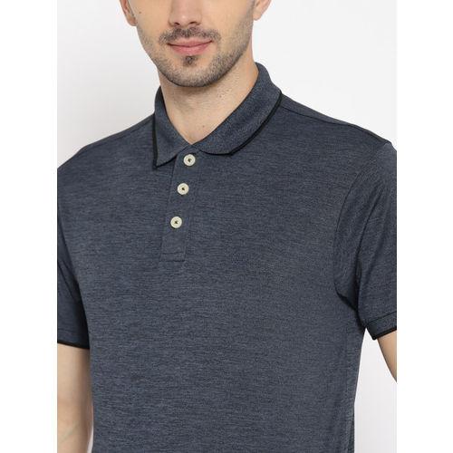 Chkokko Men Charcoal Grey Solid Polo Collar Golf T-shirt