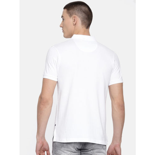 Parx Men White Solid Polo Collar T-shirt