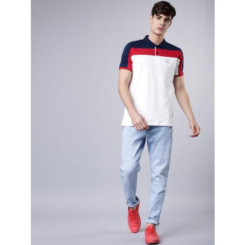 LOCOMOTIVE Men White & Navy Blue Colourblocked Polo Collar T-shirt