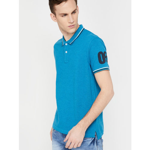 Fame Forever by Lifestyle Men Navy Blue Solid Polo Collar T-shirt