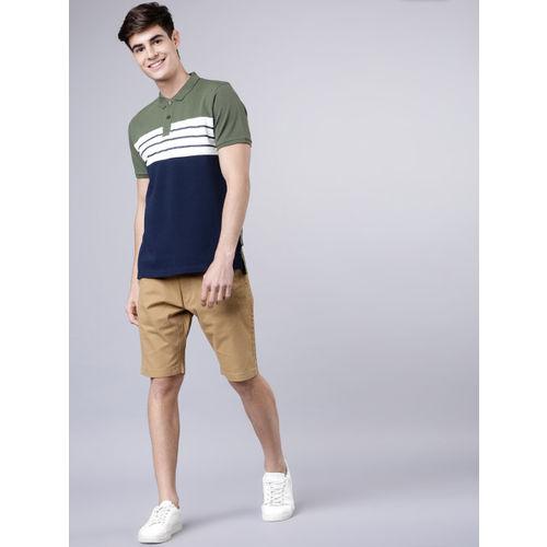 LOCOMOTIVE Men Olive Green & Navy Blue Colourblocked Polo Collar T-shirt