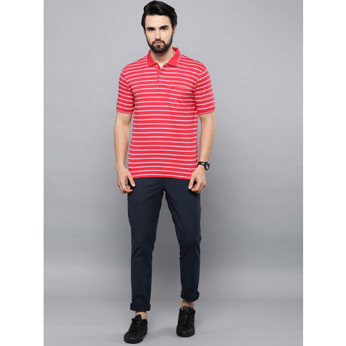 Louis Philippe Men Red & Pink Striped Polo Collar T-shirt