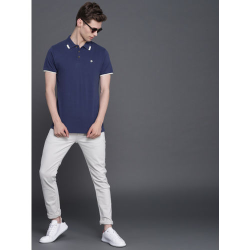 WROGN Men Blue Solid Slim Fit Polo Collar T-shirt