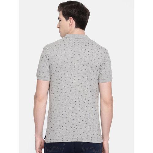 Parx Men Grey Printed Polo Collar T-shirt