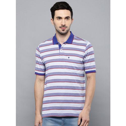 Louis Philippe Men Blue & Maroon Striped Polo Collar T-shirt