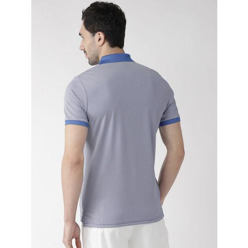 Alcis Men Blue Self Design Polo Collar T-shirt