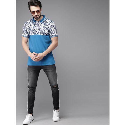 Moda Rapido Men White & Blue Printed Polo Collar T-shirt