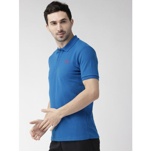 Alcis Men Blue Solid Polo Collar T-shirt