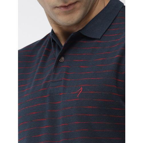 Indian Terrain Men Navy Blue Self Striped Polo Collar T-shirt