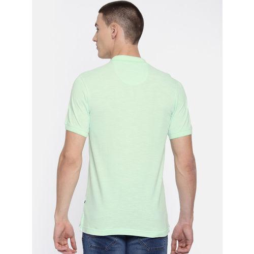 Parx Men Green Solid Polo Collar T-shirt