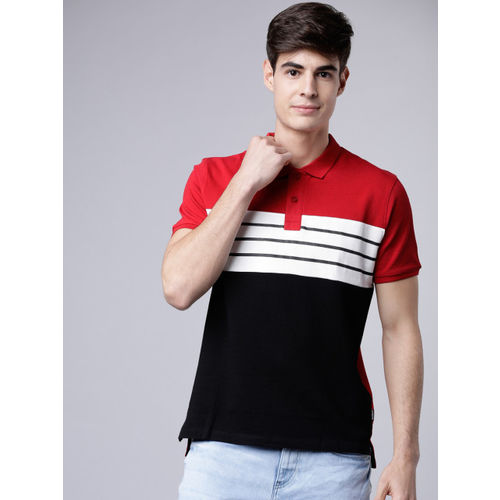 LOCOMOTIVE Men Red & Black Colourblocked Polo Collar T-shirt