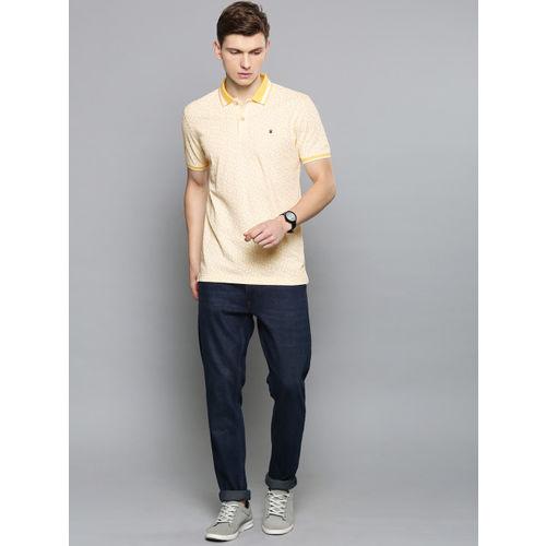 Louis Philippe Sport Men Yellow & White Printed Polo Collar T-shirt