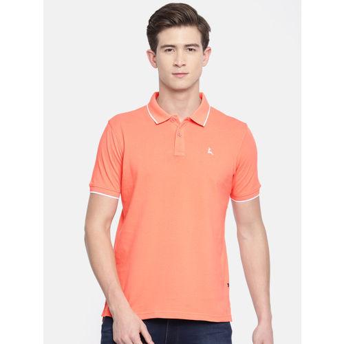 Parx Men Orange Solid Polo Collar T-shirt