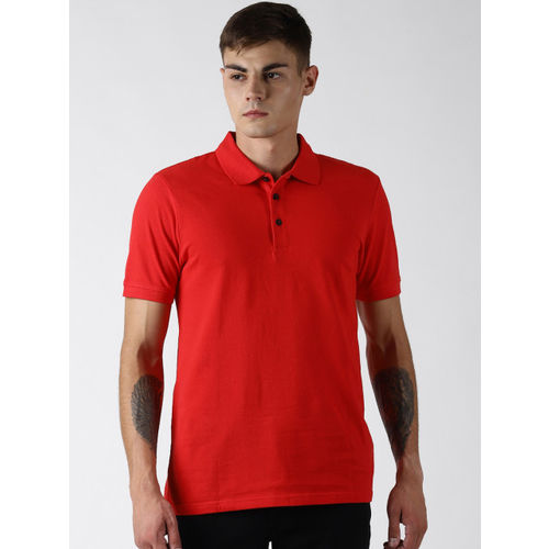 Blue Saint Men Red Solid Polo Collar T-shirt