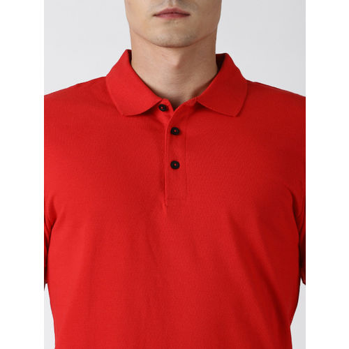 Blue Saint Men Red Solid Polo Collar T-shirt