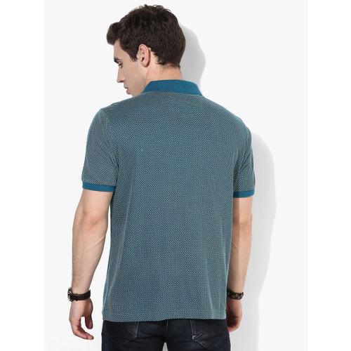 Marks & Spencer Men Teal Blue & White Printed Polo Collar T-shirt