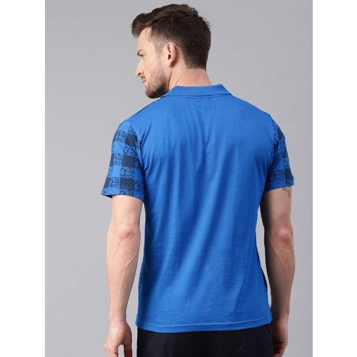 Kryptic Men Blue Checked Polo Collar T-shirt