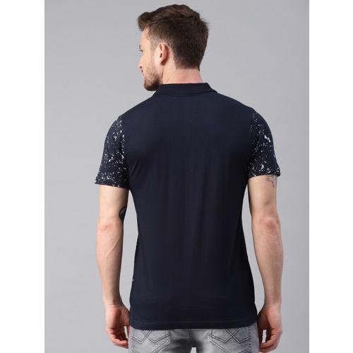 Kryptic Men Navy & White Printed Polo T-shirt