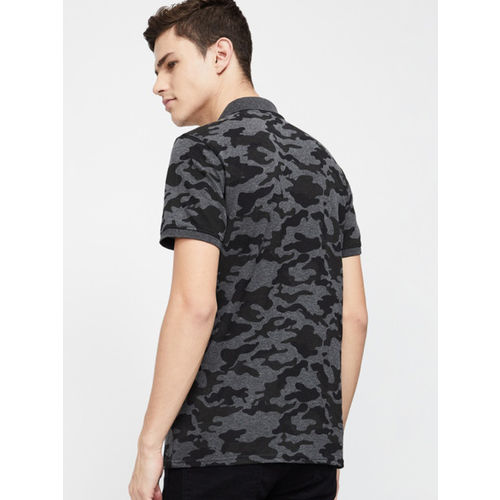 Forca Men Black & Grey Printed Polo Collar T-shirt