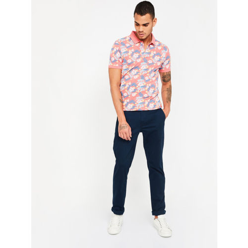 CODE by Lifestyle Men Pink Printed Polo Collar T-shirt