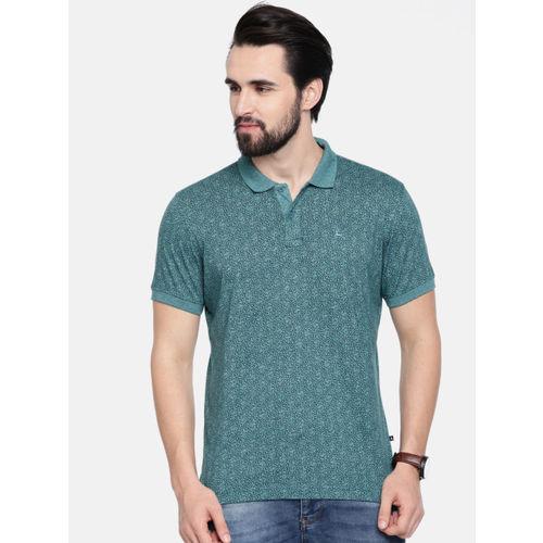 Parx Men Teal Green Printed Polo Collar T-shirt