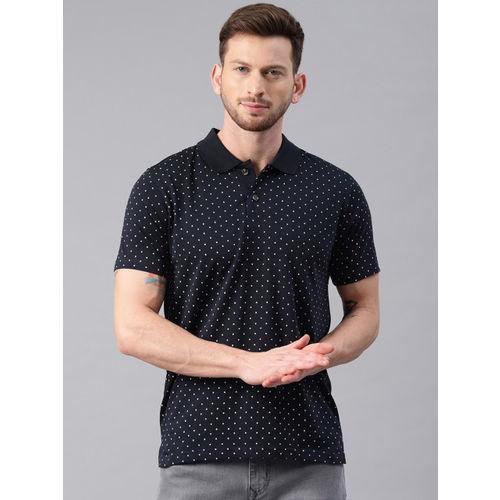 Kryptic Men Navy Printed Polo Collar T-shirt