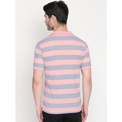 BYFORD by Pantaloons Men Pink Striped Polo Collar T-shirt