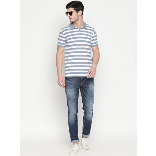 BYFORD by Pantaloons Men Blue Striped Polo Collar T-shirt