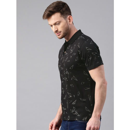 Kryptic Men Black Printed Polo Collar T-shirt