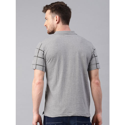 Kryptic Men Grey Melange & Black Checked Polo T-shirt