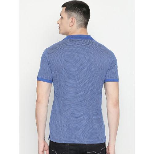BYFORD by Pantaloons Men Blue Striped Polo Collar T-shirt