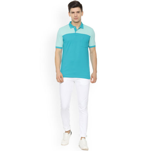 Allen Solly Men Blue Colourblocked Polo Collar T-shirt