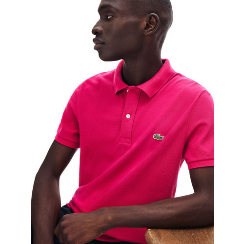 Lacoste Men Pink Solid Polo Collar T-shirt