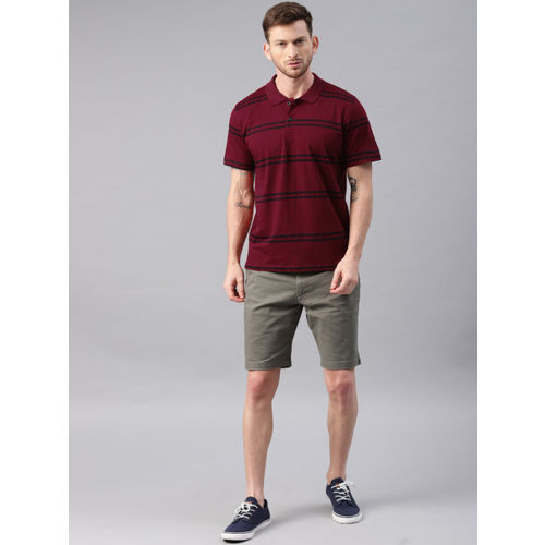 Kryptic Men Maroon & Navy Striped Polo T-shirt