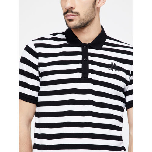 Kappa Men Black & White Striped Polo Collar T-shirt