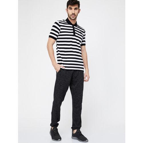 Kappa Men Black & White Striped Polo Collar T-shirt