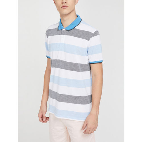 Fame Forever by Lifestyle Men Blue Striped Polo Collar T-shirt