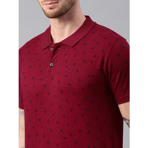Kryptic Men Maroon & Navy Printed Polo Collar T-shirt